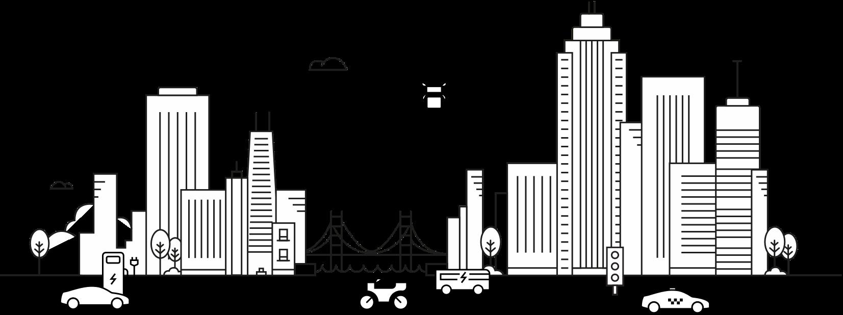 future mobility skyline icon
